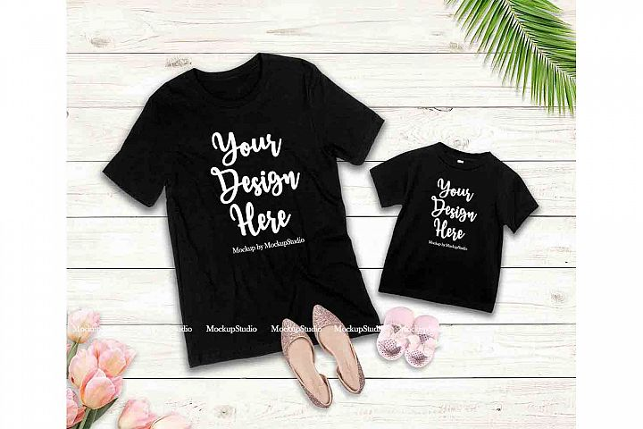 Mother Daughter Black Shirts Mockup Bella Canvas 3001 3001T