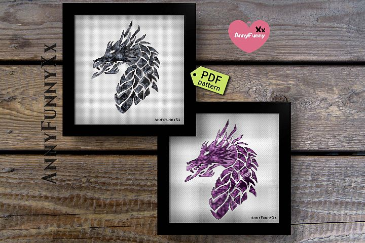 Small Dragons cross stitch pattern PDF Set of 2