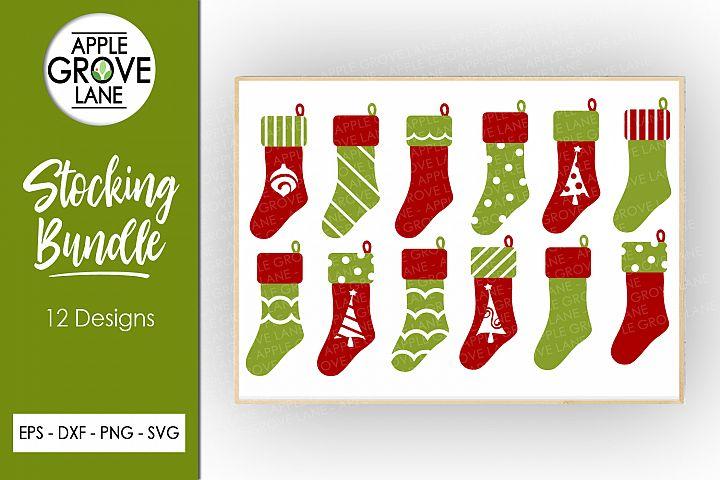 Christmas Stocking Svg Bundle - 12 designs - Svg Eps Dxf Png