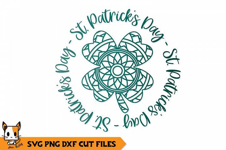 Shamrock Circle - St Patricks Day Zentangle SVG PNG DXF