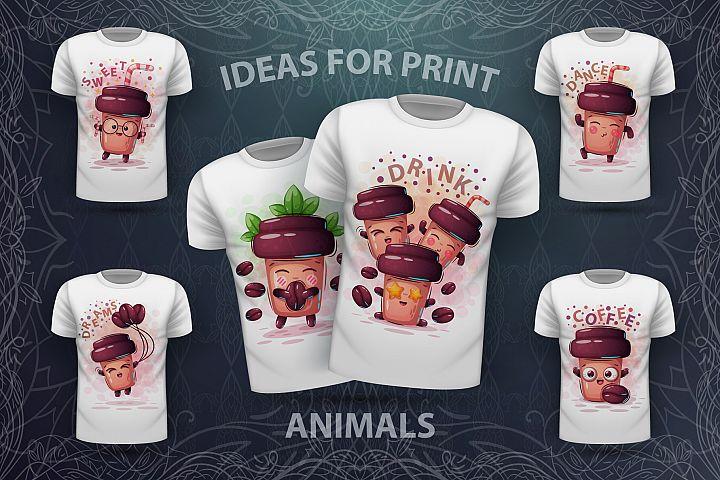 Set cute coffee - for print t-shirt