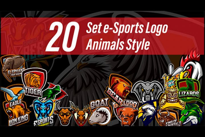 20 Set Vector Logo esports Gaming With Animals Style
