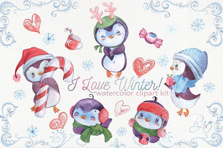 Cute watercolor Christmas penguins clipart