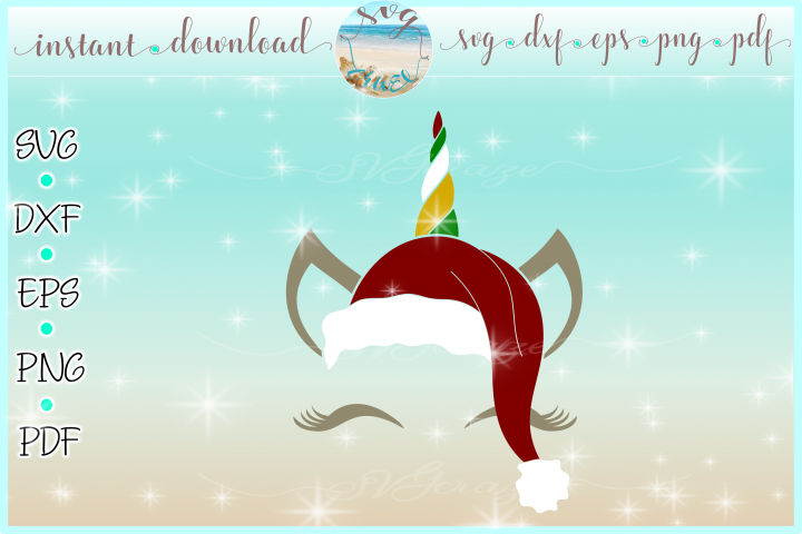 Unicorn Face Santa Hat Christmas Deer SVG DXF EPS PDF PNG example