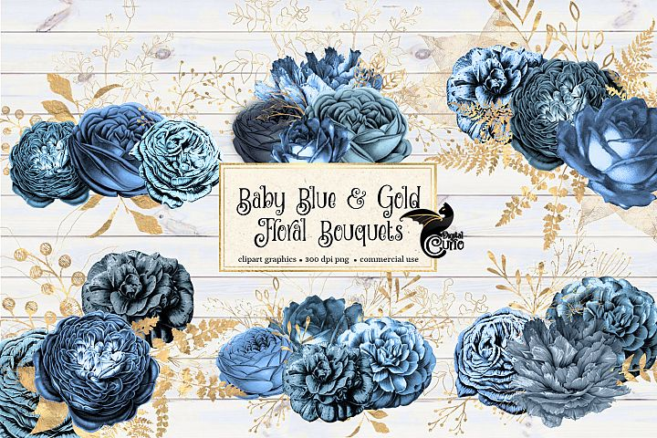 Baby Blue and Gold Floral Clipart