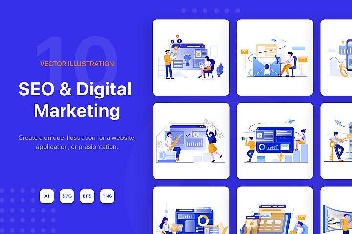 SEO & Digital Marketing Illustration Pack