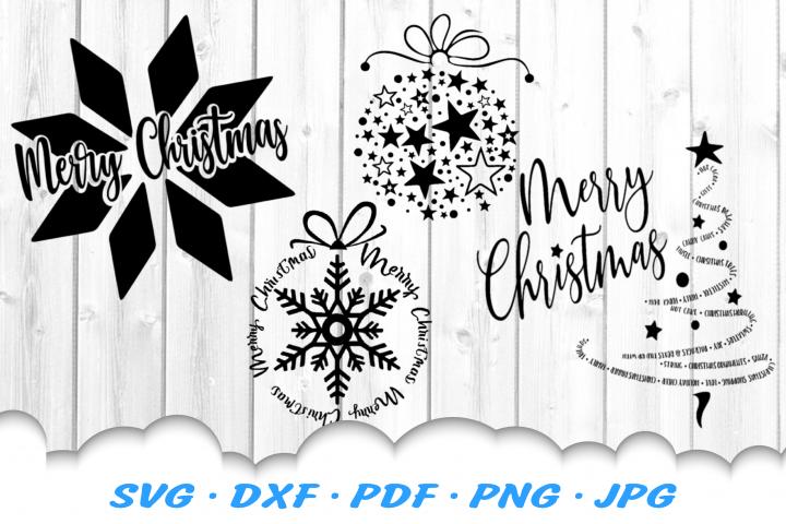 Merry Christmas Ornament SVG DXF Cut Files Bundle