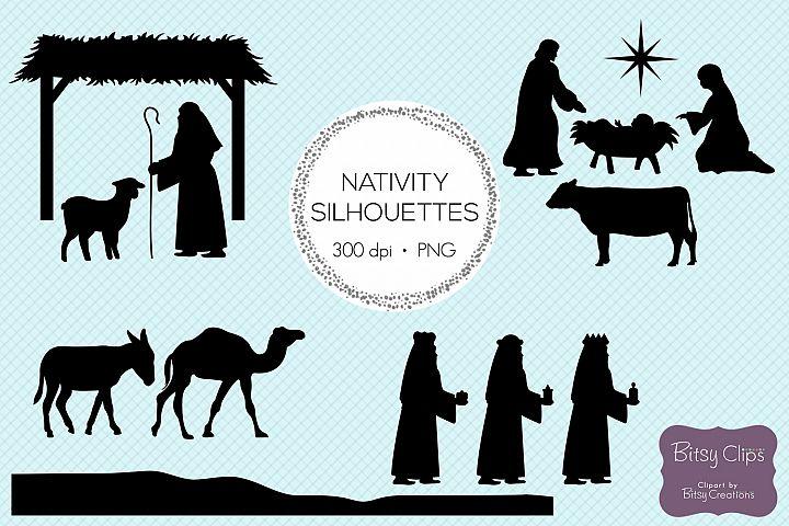 Christmas Nativity Silhouettes Digital Art Set Clipart