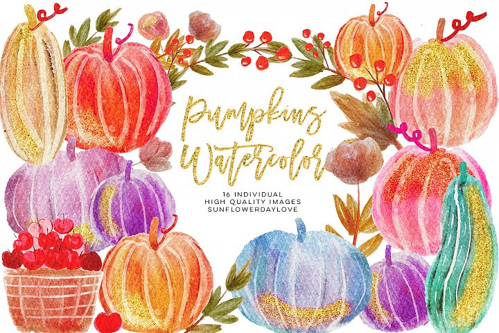Watercolour Pumpkin Clipart, Watercolour Autumn clipart