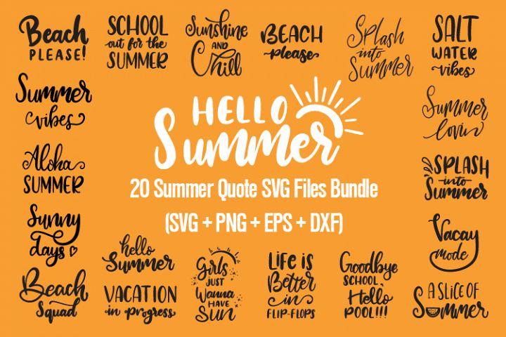 20 Summer Quote SVG Files Bundle