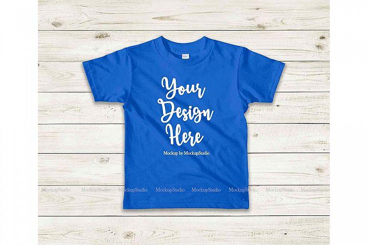 Kids Blue Tshirt Mock Up, Toddler Shirt Flat Lay Mock Up