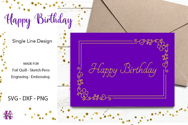 Hapy Birthday Design for Foil Quill|Single Line Design