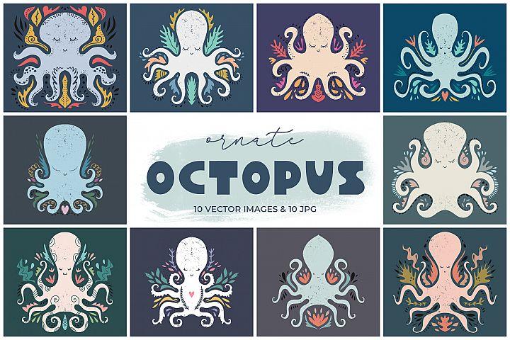 Cartoon stylized octopuses clip art set
