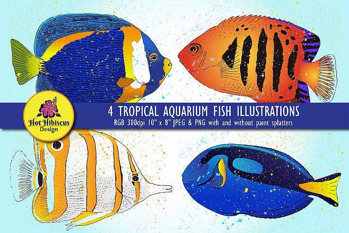 Hand Drawn Colourful Tropical Aquarium Fish Illustrations