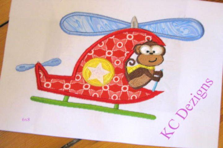 Safari Pilot Monkey Machine Applique Embroidery Design