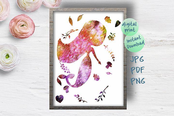 Mermaid nursery wall art printable file, Mermaid poster