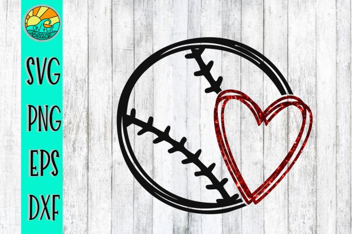 Baseball - Softball - Heart - SVG - DXF - EPS - PNG