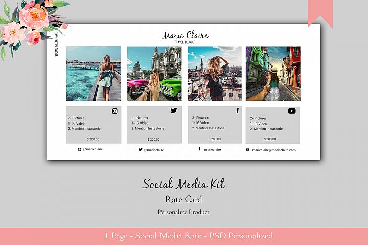 Travel Social Media Kit PSD. 1 Page easy to edit.