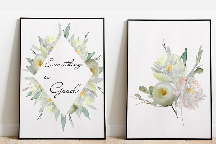 Floral prints Make Positive watercolor poster