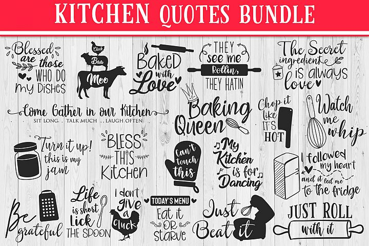 SALE! 20 Kitchen quotes bundle, Quote sign svg, kitchen svg