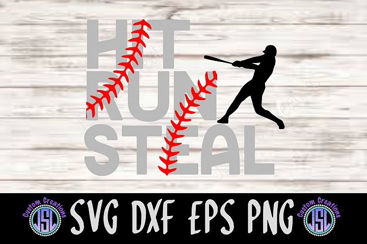 Hit Run Steal | Set of 2 Baseball Bundle| SVG DXF EPS PNG