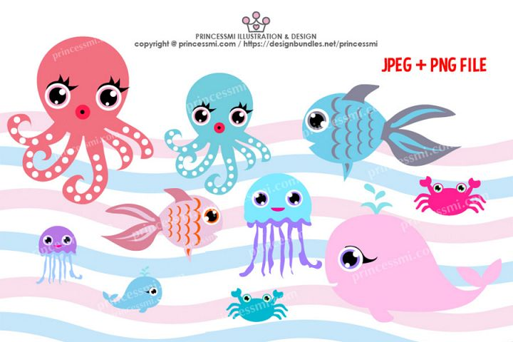 Collection of ocean Octopus, Goldfish Whale crab, Jellyfish