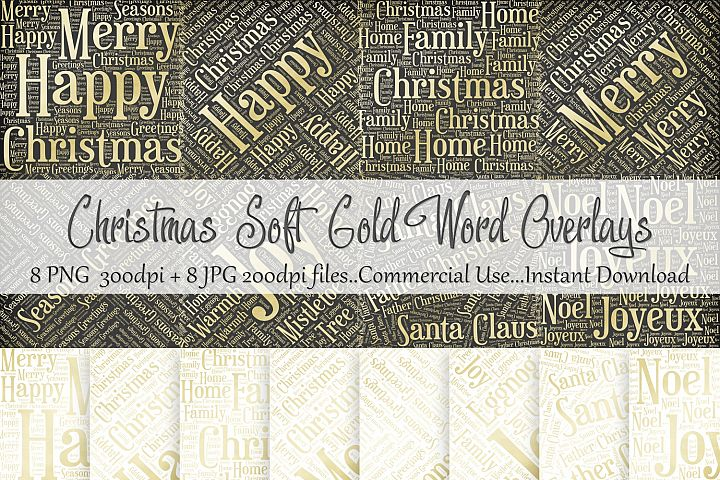 Christmas Soft Gold Word Overlays