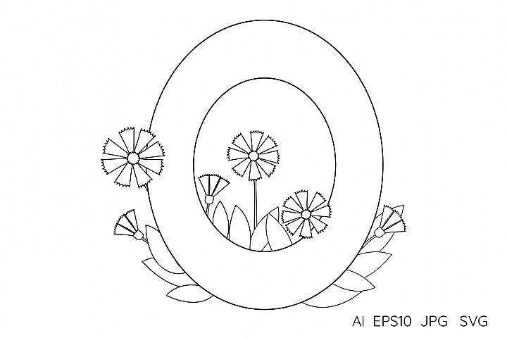 Numeral, number zero. Letter O. Flowers. Coloring page.