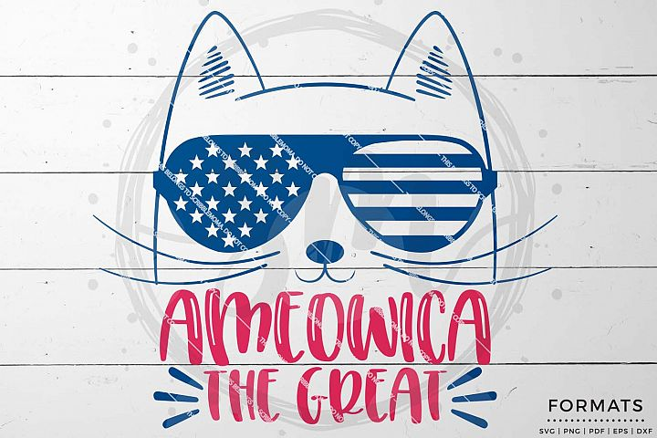 Ameowica Cute Cat July 4th svg