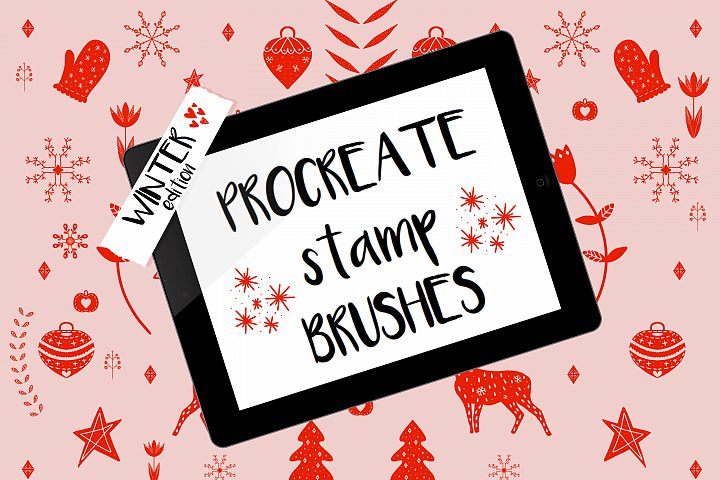 Procreate stamp brushes winter edition