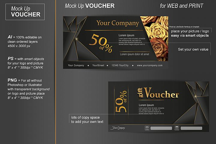 Mockup - Gift Voucher - Exclusive Gold