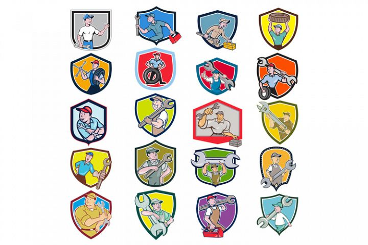 Mechanic Icon Crest Set
