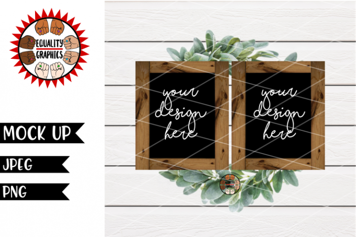 Two Black Wood Signs Mock Up | JPEG | PNG