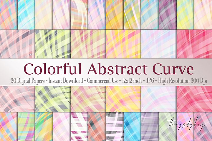 30 Colorful Rainbow Abstract Curve Geometric Digital Papers