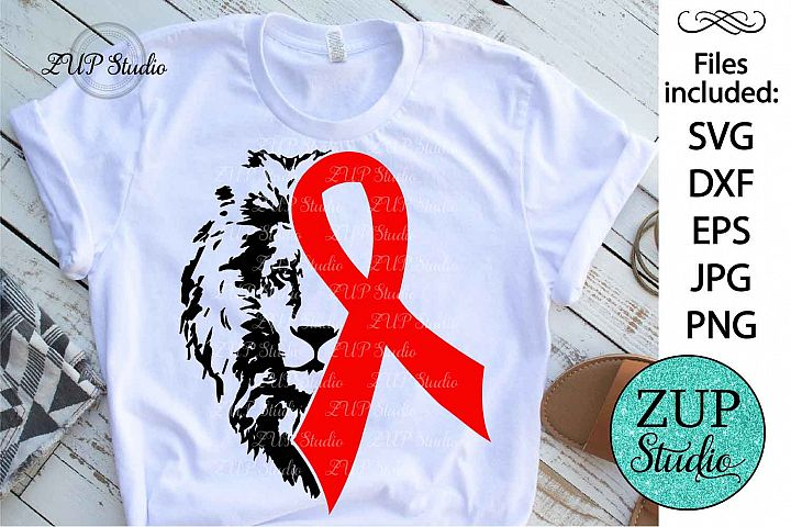 Red Ribbon Awareness with lion face svg design 420