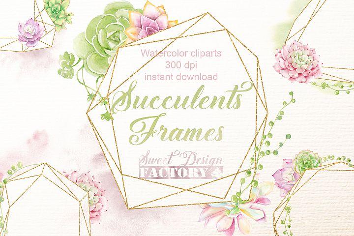 Succulents polygonal frames cliparts