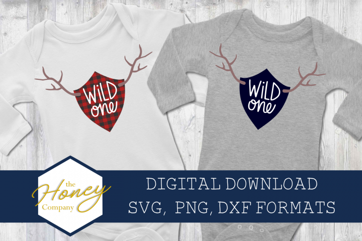 Wild One SVG PNG DXF Deer Antler Shield First Birthday Plaid