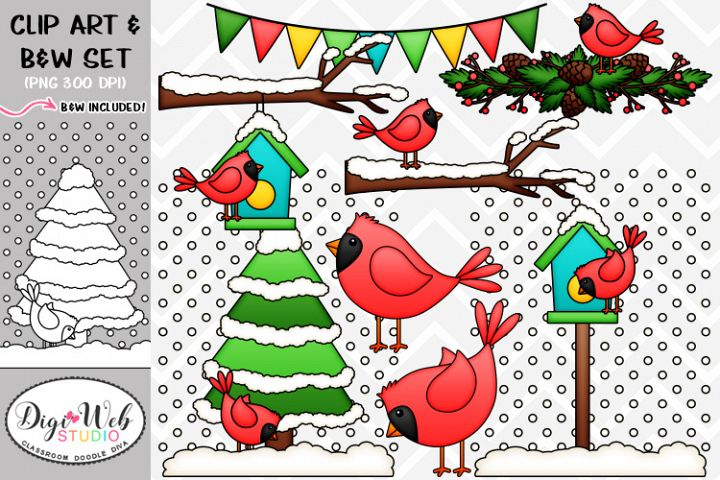 Clip Art / Illustrations - Winter Cardinals