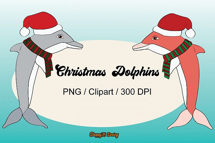 Pack Christmas Dolphins 24 cliparts