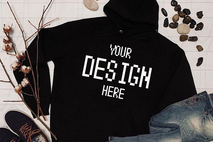 Gildan Hooded Sweatshirt Brand Black hoodie Mockup Jeans