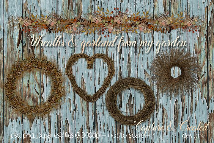 Large Wreaths & Garland From My Garden/ Clipart- Elements