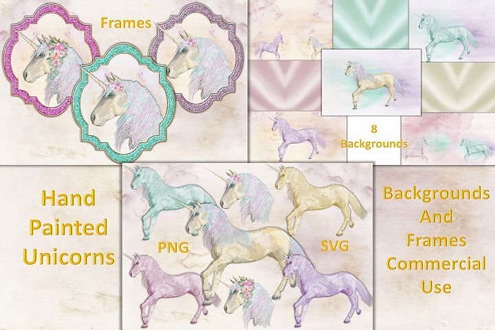 Unicorn Handpainted clipart, backgrounds and frames. PNG SVG