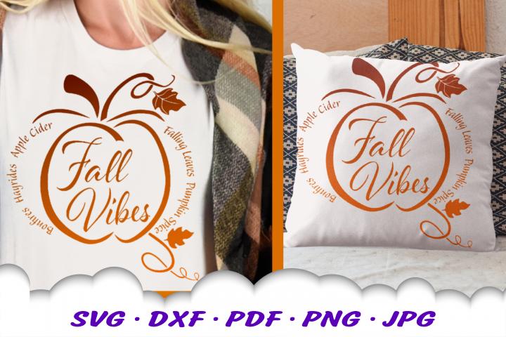 Fall Vibes Word Pumpkin SVG DXF Cut Files