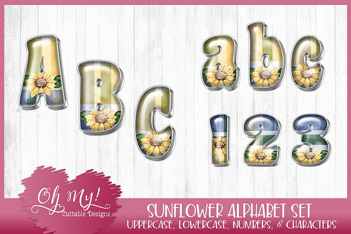 Sunflower Alphabet Bundle Clipart Graphics Word Art