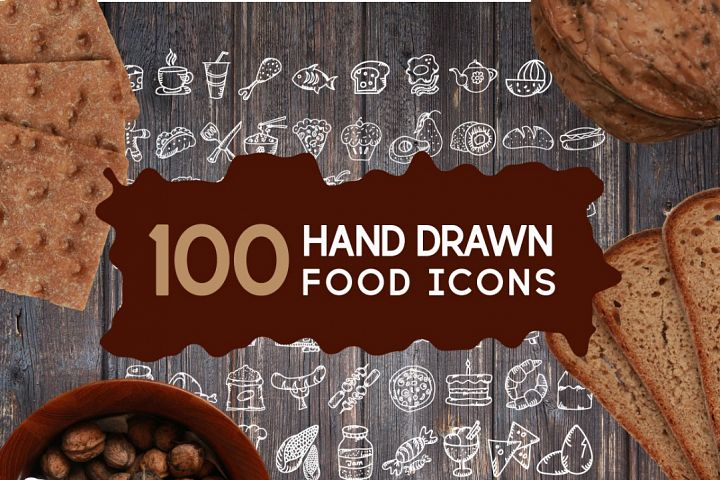 100 Hand Drawn Food Icons