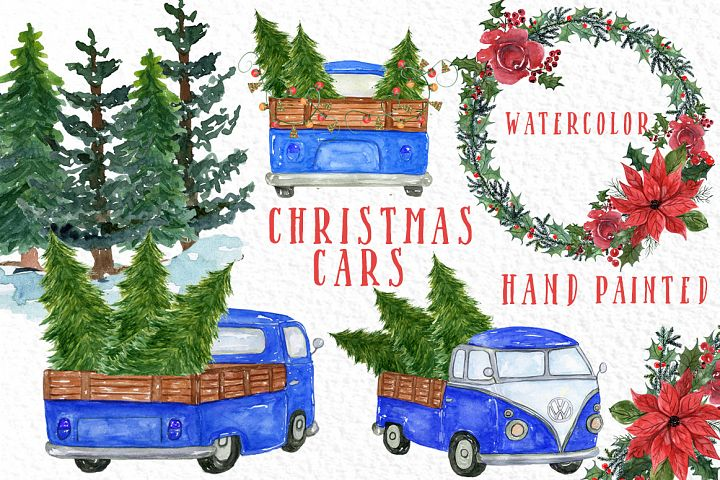 Watercolor Christmas Trucks clipart