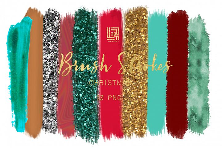 Brush Strokes Clip Art. chRISTMAS GLITTER. Christmas colors: silver glitter,green, gold glitter, scarlet red. Digital Design Resource.
