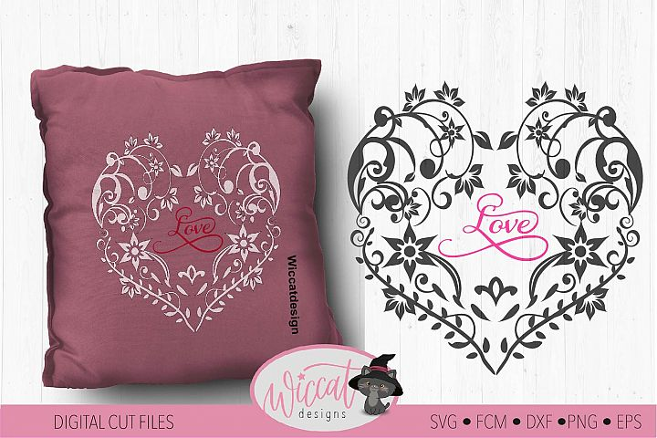 Flower heart svg, mothers day, lace cut file, glass block