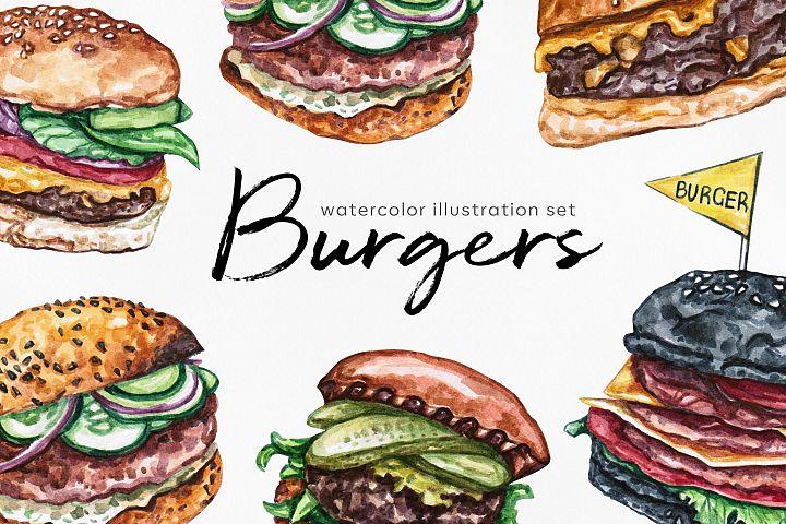 Watercolor food set illustrations. Burger. 6 burgers