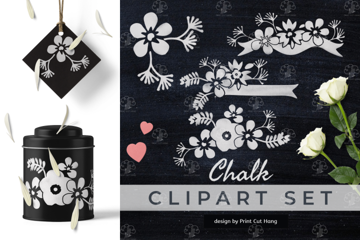 Chalk Clipart Set White Flowers and Retro Ribbons Chalkboard